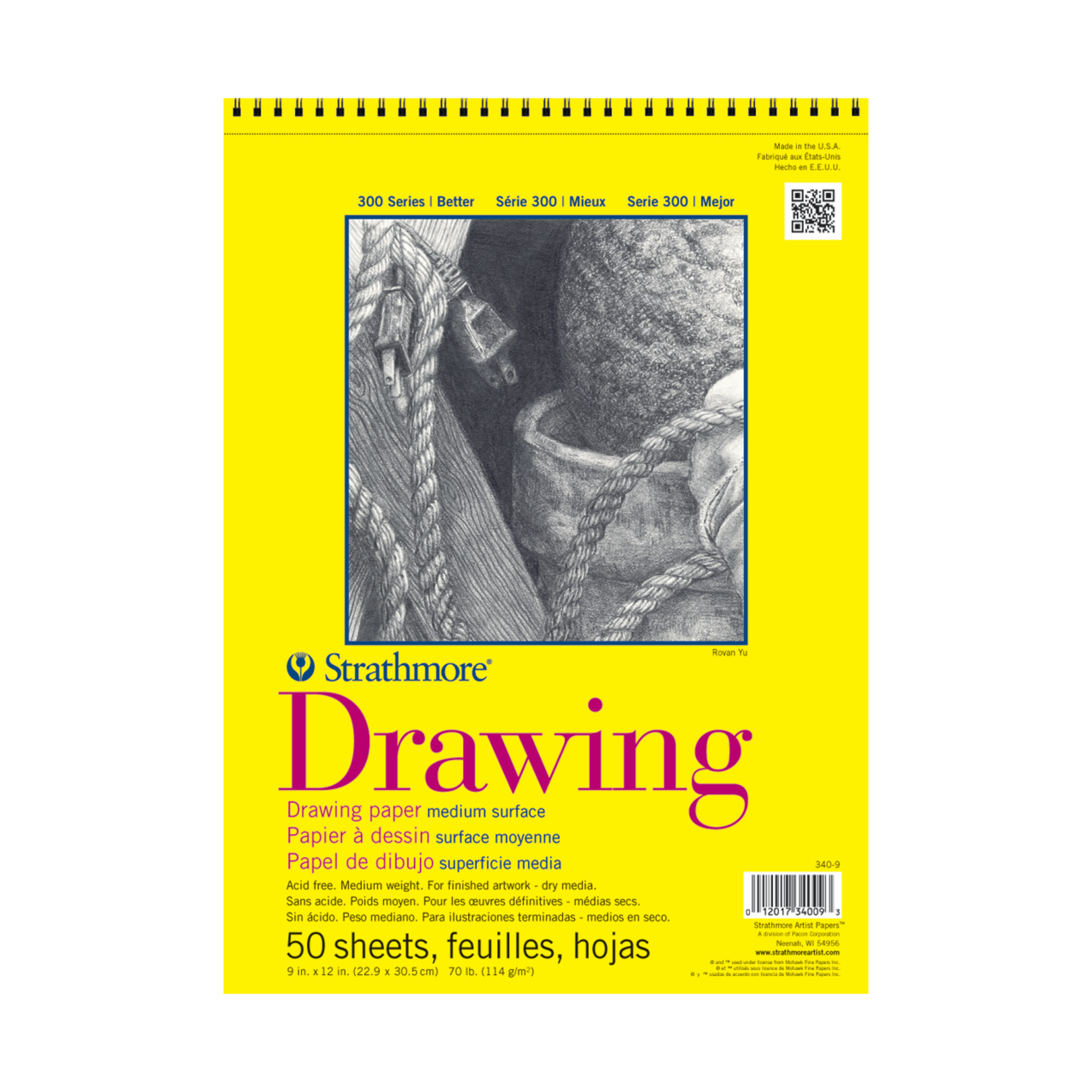 Strathmore Drawing Paper Pad, 300 Series, 20 Sheets, 11in x 14inin