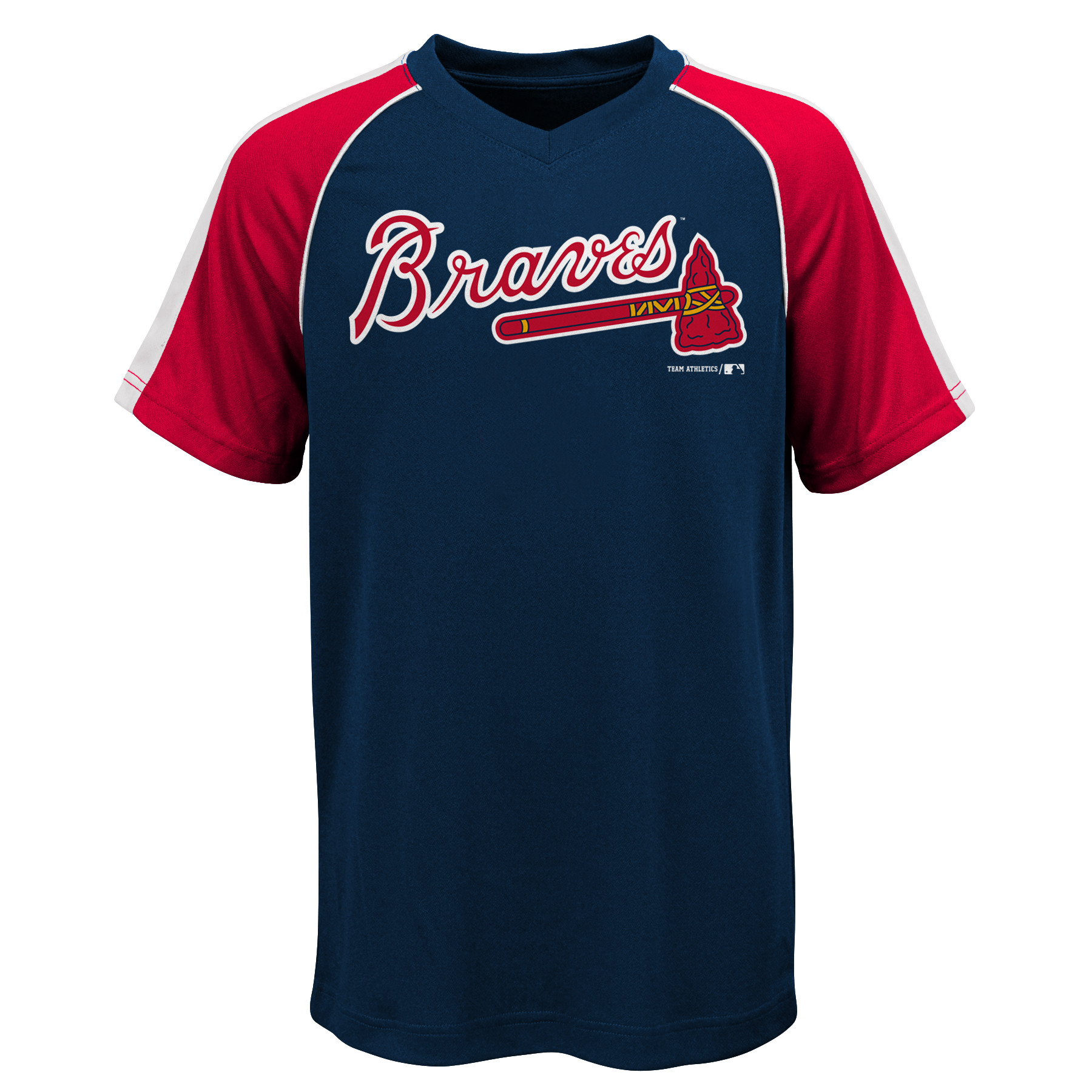MLB Atlanta Braves TEE Short Sleeve Boys Fashion Jersey Tee 100% Polyester Pin Dot Mesh Jersey Team Tee 4-18