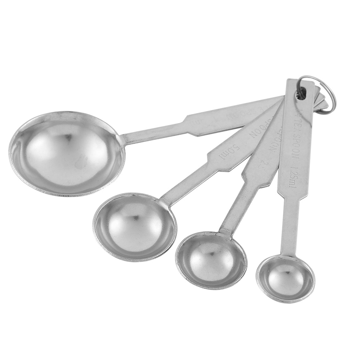 Kitchen Cooking Stainless Steel Graduated Measuring Spoon Set 4 Pcs Silver Tone