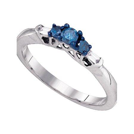 10kt White Gold Womens Round Blue Color Enhanced Diamond 3-stone Bridal Wedding Engagement Ring 1/4 Cttw - April Wedding Colors