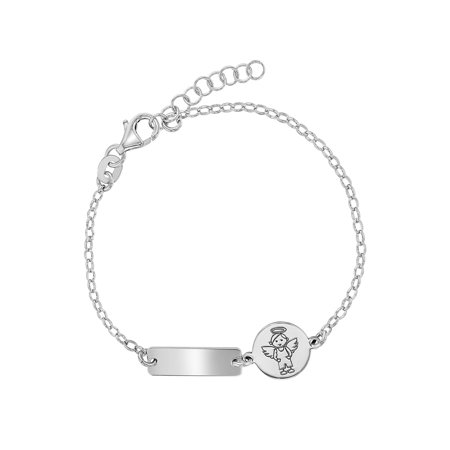 925 Sterling Silver Guardian Angel Tag ID Bracelet Baby Infants Toddlers 5.5