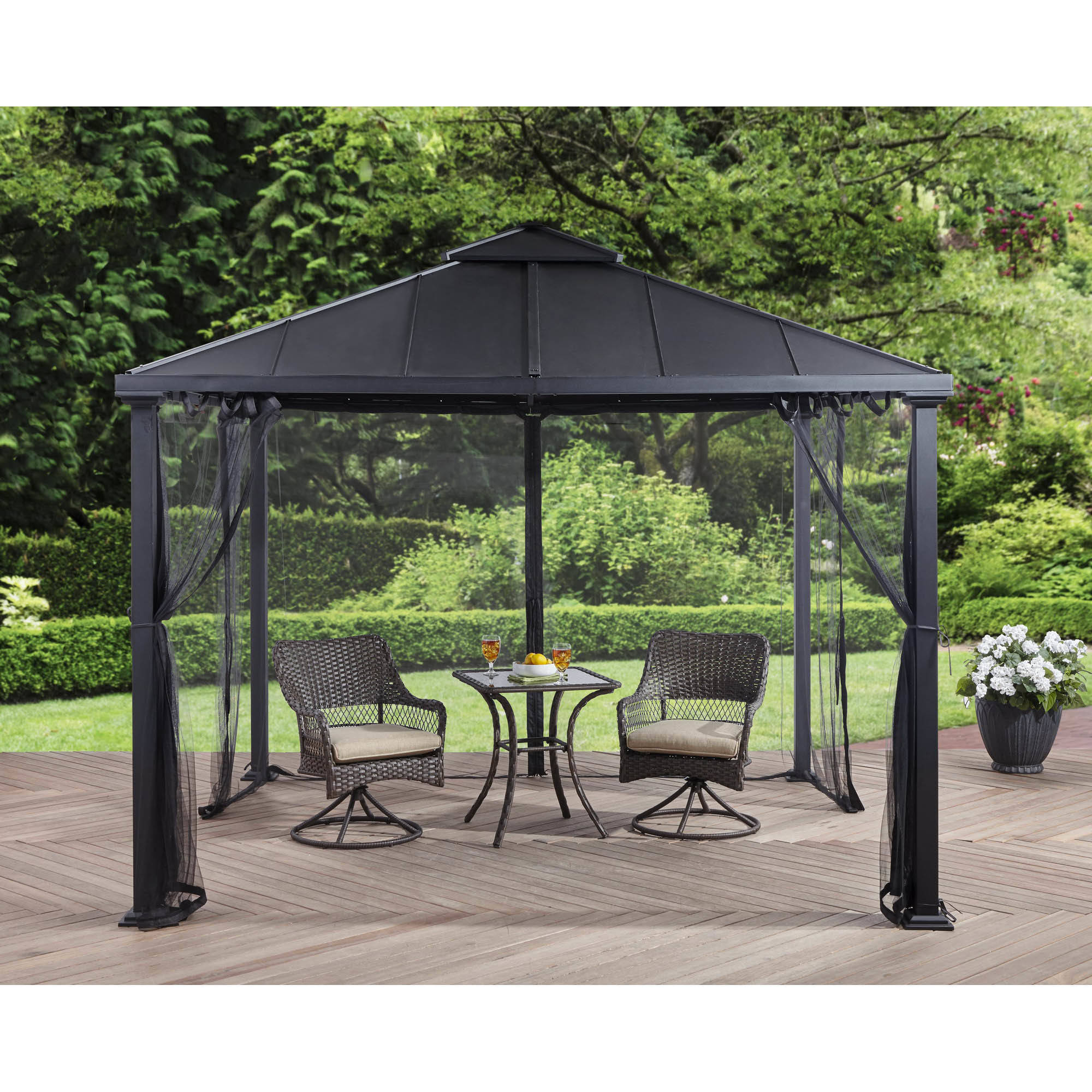 Better homes and gardens sullivan ridge hard top gazebo with netting 10x10 at garden sensation Better homes and gardens gazebo