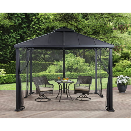 Better Homes And Gardens Sullivan Ridge Hard Top Gazebo With Netting  10X10
