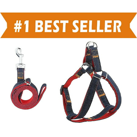 Elegant Comfort Dog Leash Harness Adjustable & Durable Leash Set & Heavy Duty Denim Dog Leash Collar for Small, Medium and Large Dog, Perfect for Daily Training Walking