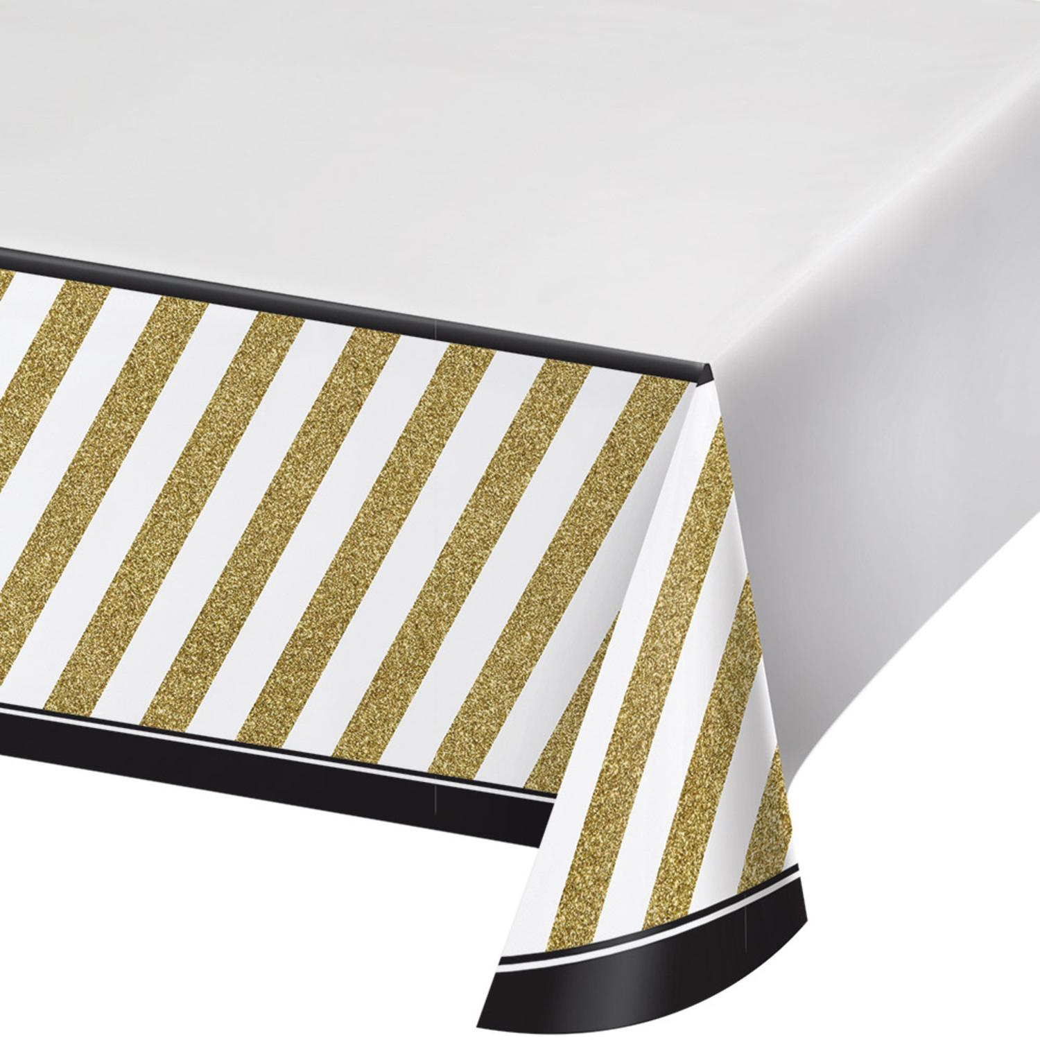 """Pack of 6 Black and Gold Disposable Rectangle Plastic Party Table Covers 102"""""""