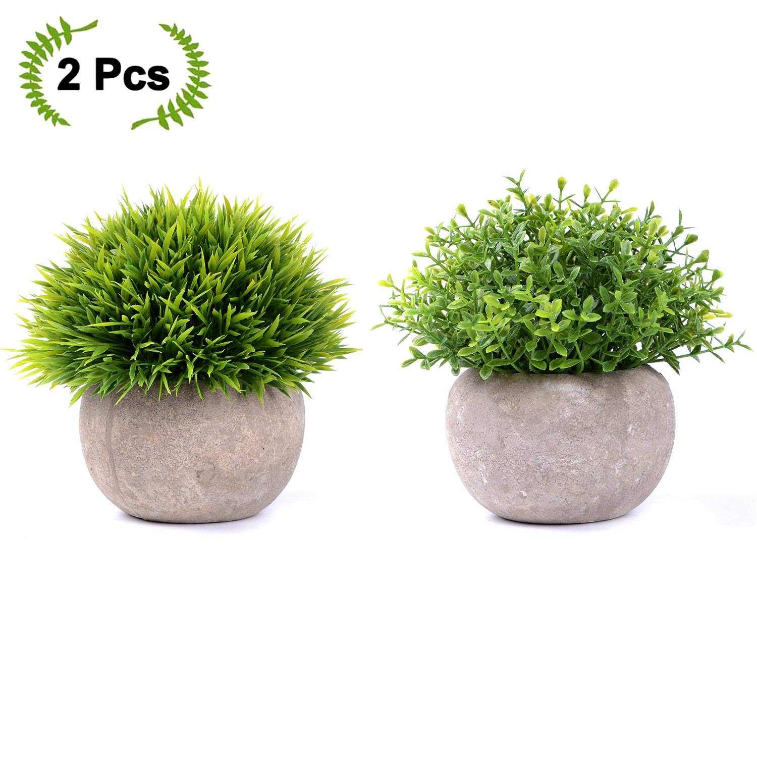 Coolmade 2 Pack Artificial Potted Green Grass Artificial Flowers