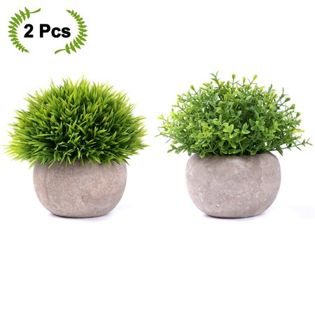 Coolmade 2-pack Artificial Potted Green Grass Artificial Flowers Fake Plant for Bathroom/Home Decor, Small Artificial Faux Greenery for House Decorations (Potted