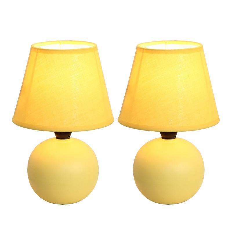 Mini Ceramic Globe Table Lamp 2 Pack Set