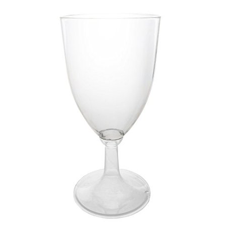 Party Essentials Hard Plastic One Piece 8-Ounce Wine Glasses, Clear, 8