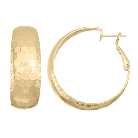 Isla Simone  14K Gold Plated Polished Hammered Half Hoop Rounded Earrings 30mm X 8mm 14k Gold 30mm Hoop Earrings