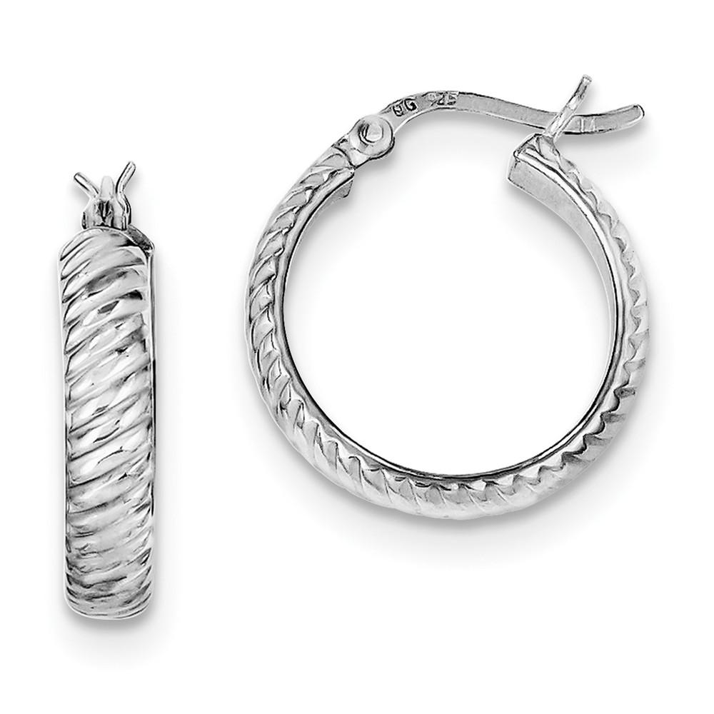 Sterling Silver 0.6IN Long 4mm Grooved Hoop Earrings