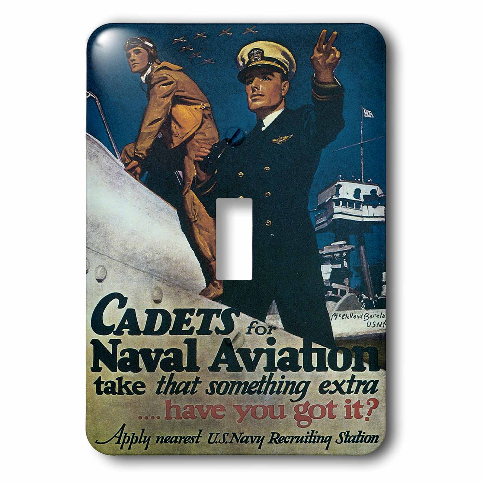 3dRose Vintage Cadets for Naval Aviation US Navy Recruiting Poster, Double Toggle Switch