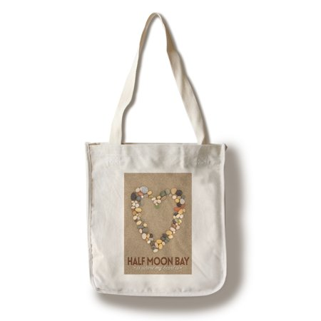 Half Moon Bay, California Is Where My Heart Is - Stone Heart on Sand - Lantern Press Photography (100% Cotton Tote Bag - Reusable)