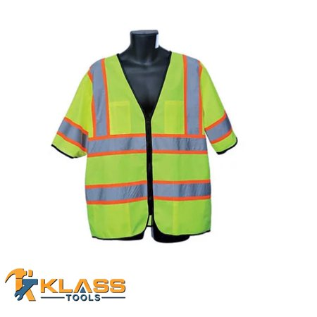 Class III Lime Green Vest with Orange Accented-Stripe (Size: Small)