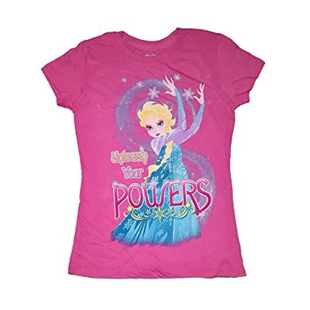 [P] Disney Girls' Elsa the Snow Queen Powers Fashion Top T-shirt (Disney Girls Shorts)