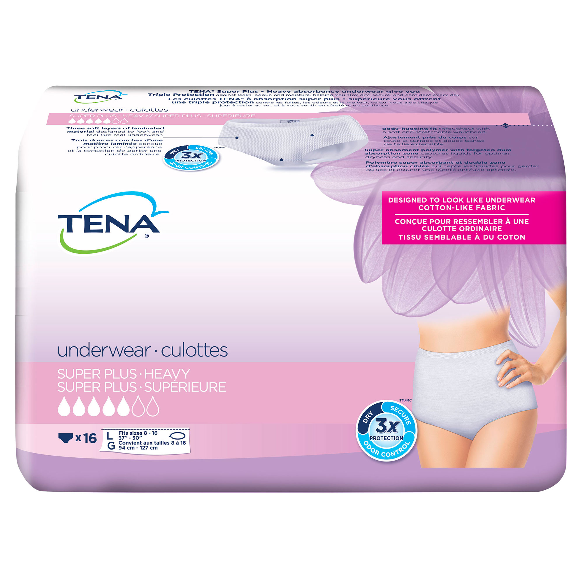 Tena Incontinence Underwear For Women, Super Plus Absorbency, Large, 16 Count