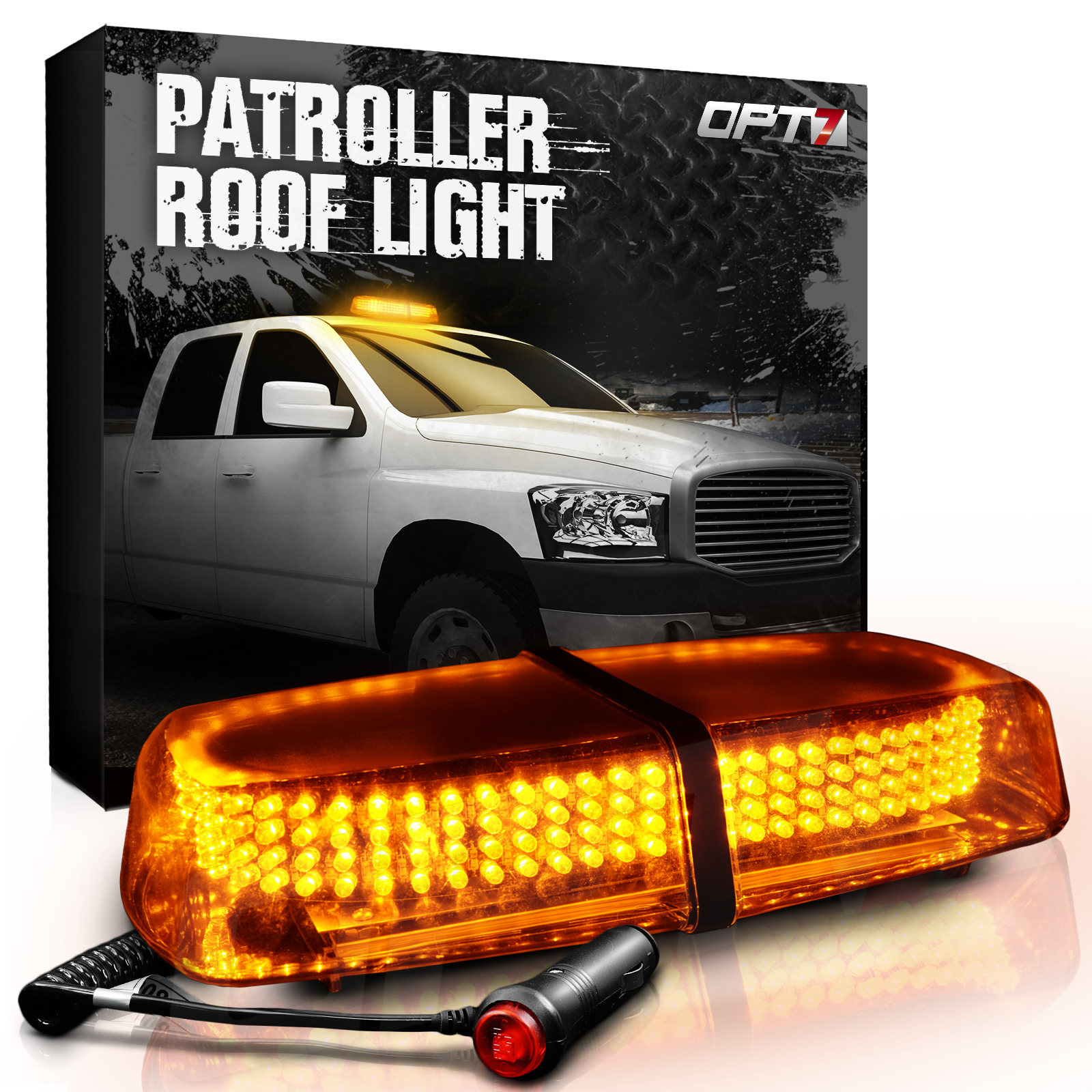 OPT7 Patroller Amber Roof Light - Hazard Warning Flash Modes - Waterproof Protective Casing 240 LEDs - for Emergency Vehicle Safety Security Lighting, Traffic Control Cars, Snow Plow Trucks, Volunteer