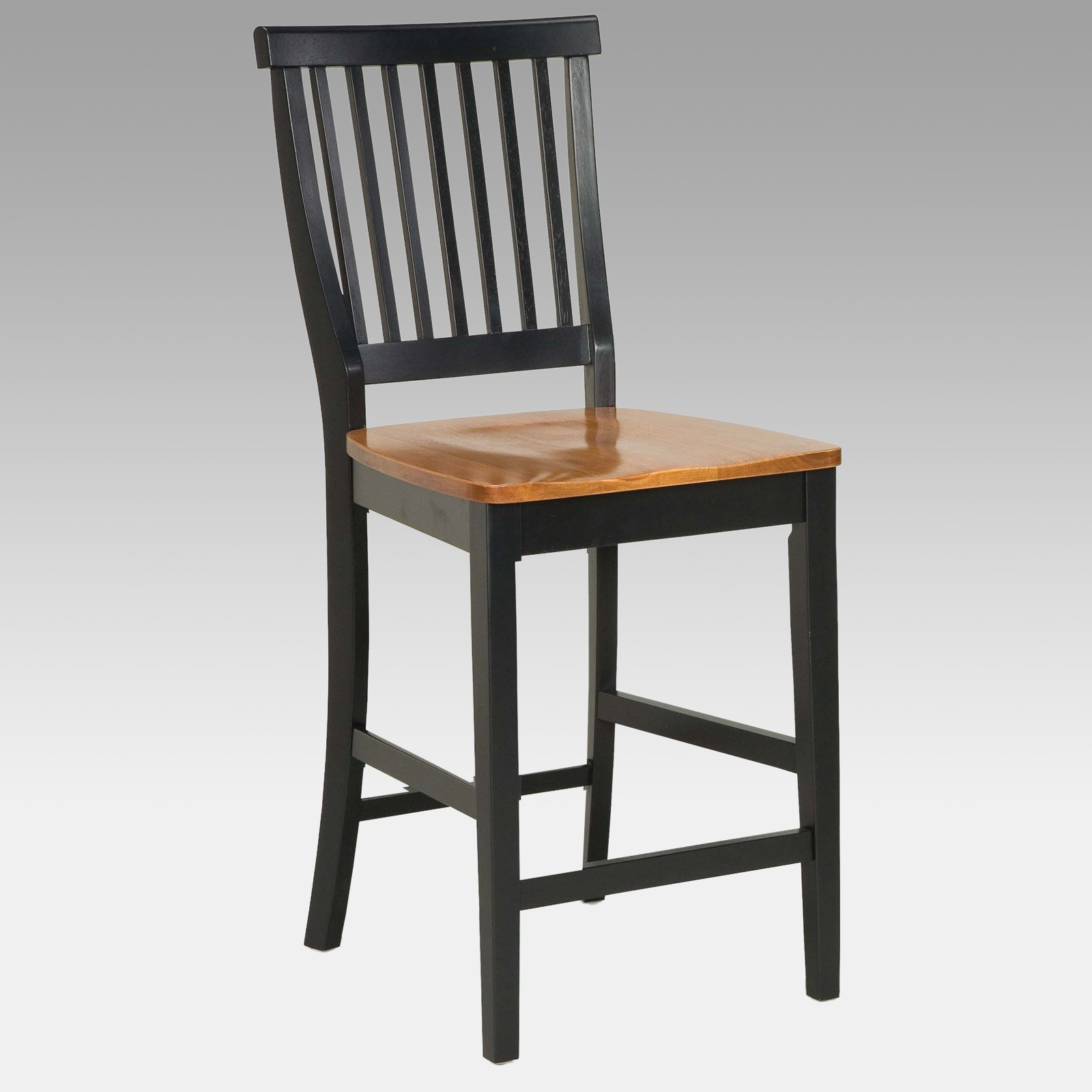 """Kitchen Bar Stools Walmart: Home Styles Wood Counter Stool 24"""", Black And Cottage Oak"""