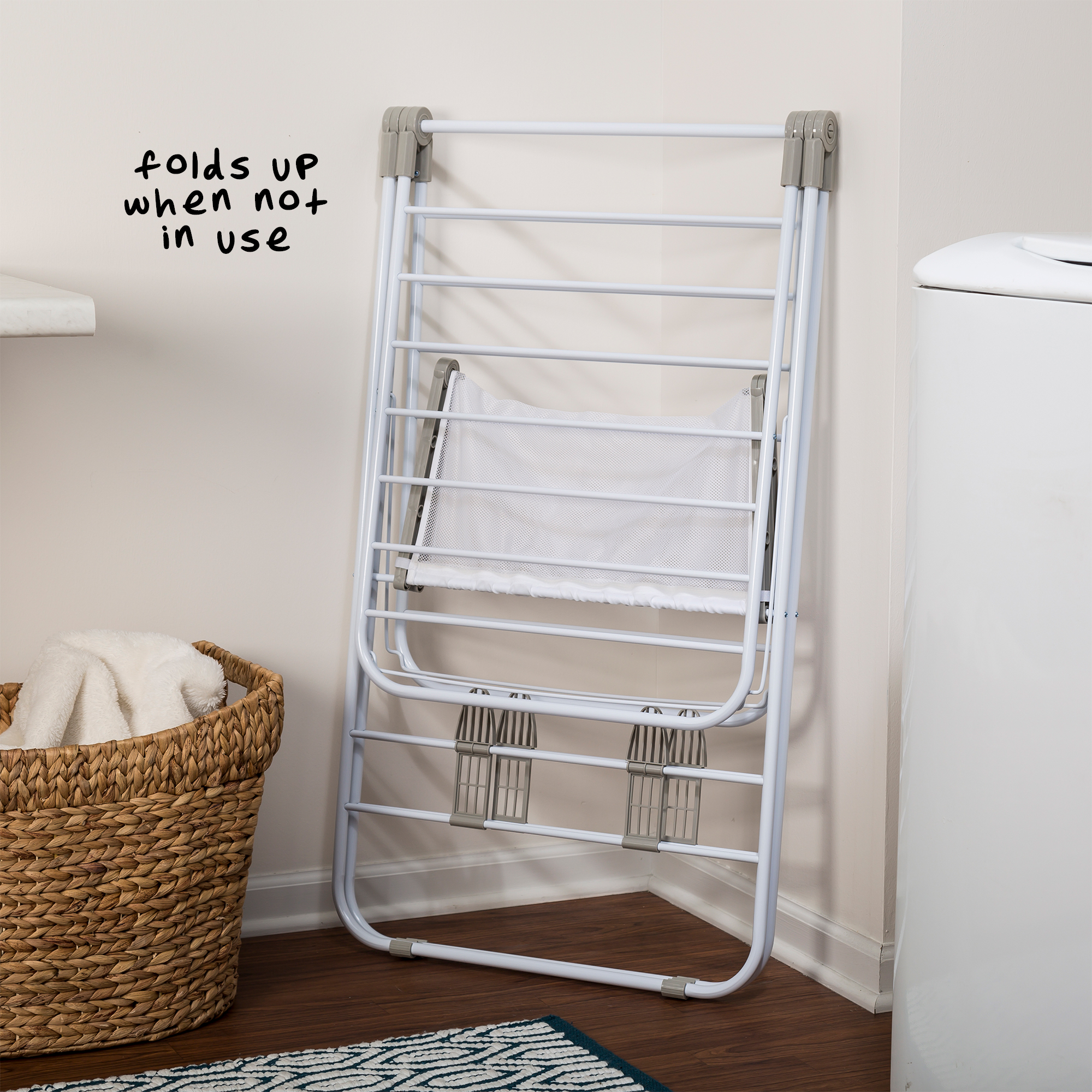 Honey Can Do Heavy Duty Folding Gullwing Laundry Drying Rack, White