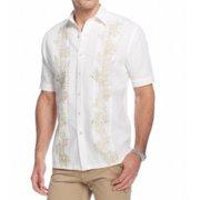 Tasso Elba NEW White Beige Mens Size XLT Pleated Front Button Down Shirt