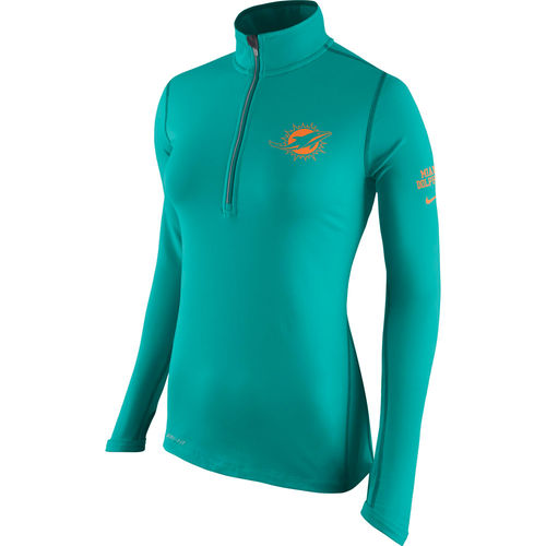 Women's Nike Aqua Miami Dolphins Tailgate Element Half-Zip Performance Jacket by