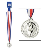 Beistle 57907 Medalwith Ribbon - Silver Pack of 12