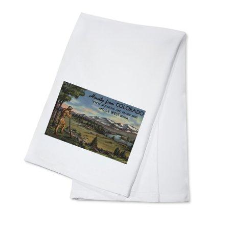 Colorado - Howdy (Mountain & Prairie Scene) (100% Cotton Kitchen Towel)