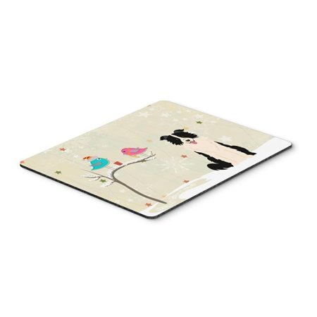 Christmas Presents Between Friends Border Collie Black & White Mouse Pad, Hot Pad or Trivet