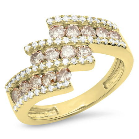 Dazzlingrock Collection 1.25 Carat (Ctw) 10K Champagne & White Diamond Ladies Fashion Right Hand Ring, Yellow Gold, Size 8