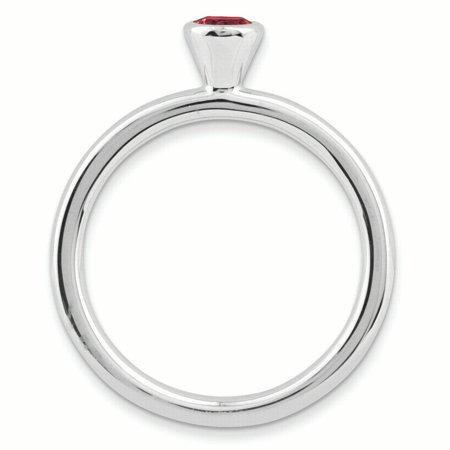 Sterling Silver Stackable Expressions High 4mm Round Created Ruby Ring Size 9 - image 1 of 3