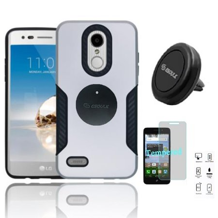 Phone Case for LG Fortune 2, LG Risio 3, LG K8 2018, LG Zone 4, LG Tribute Dynasty, LG Aristo 2 Hard Cover Case with Carbon Fiber Design + Tempered Glass + Air Vent Magnetic Car Mount (Silver) Carbon Fiber Hard Case