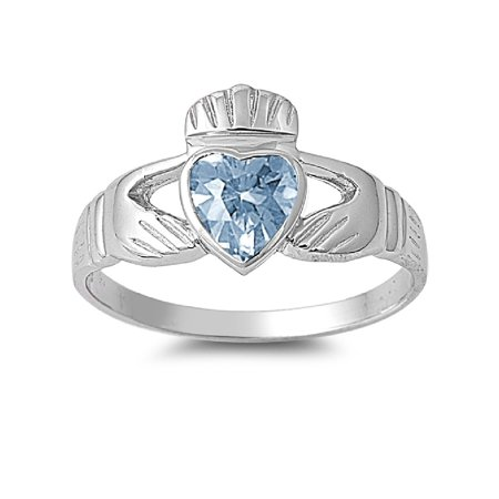 Love Claddagh Simulated Aquamarine Cubic Zirconia Ring Sterling Silver 925 Size 4