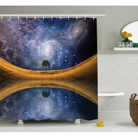 Space Shower Curtain Surreal Single Tree On Galaxy With Stars