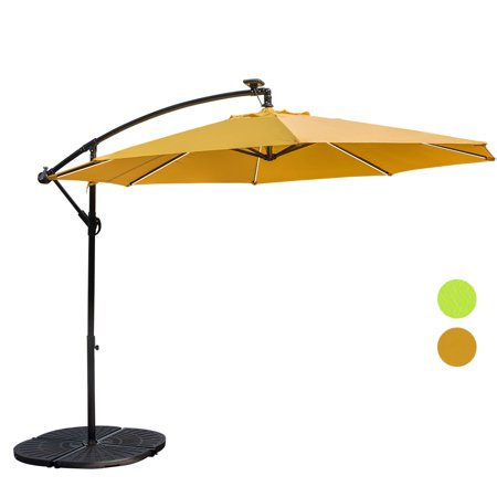 Sundale Outdoor 10 Feet Solar Ed Led Stripe Lighted Aluminum Offset Patio Umbrella With Crank 8 Steel Ribs