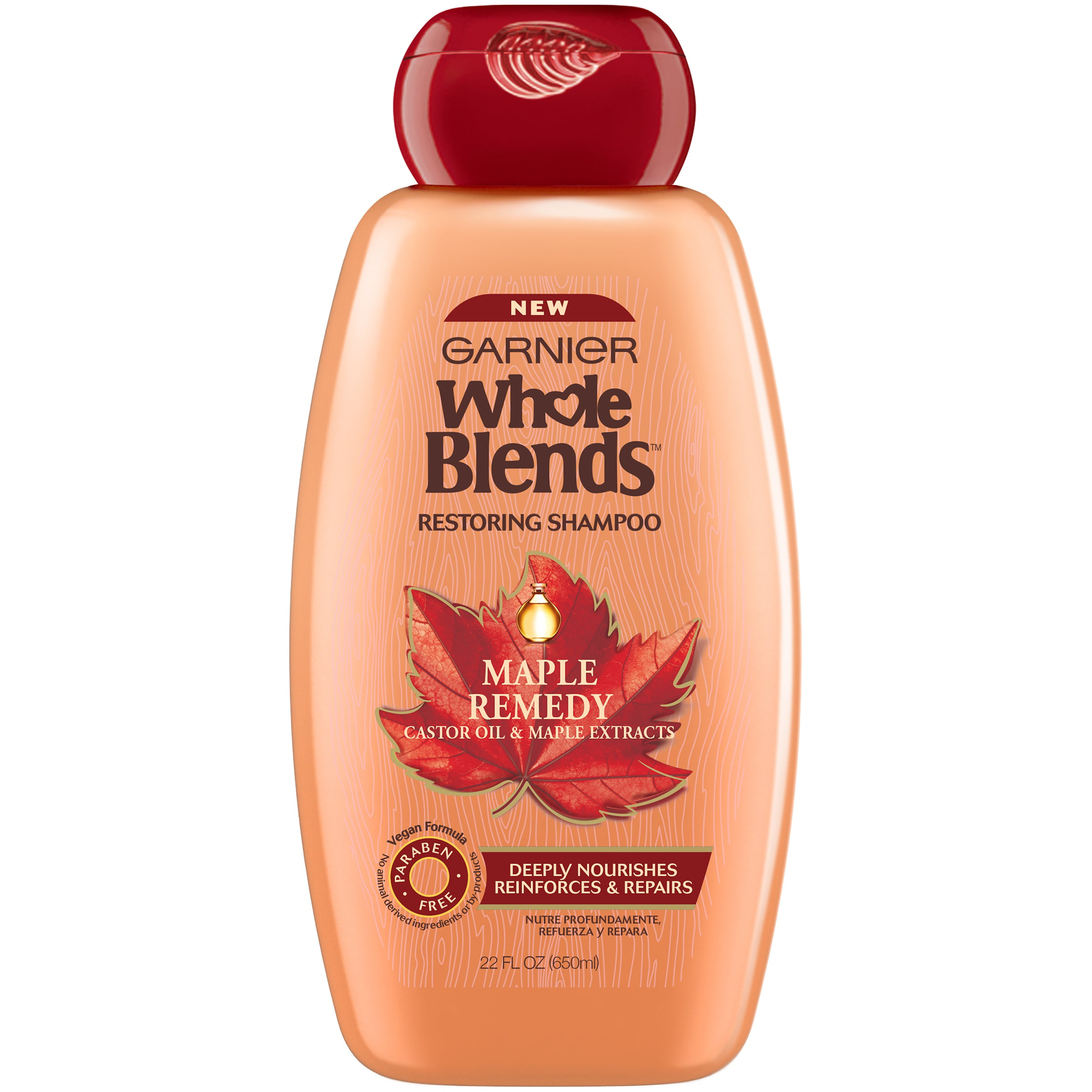 Garnier Whole Blends Restoring Shampoo Maple Remedy, For Dry, Damaged Hair, 22 fl. oz.