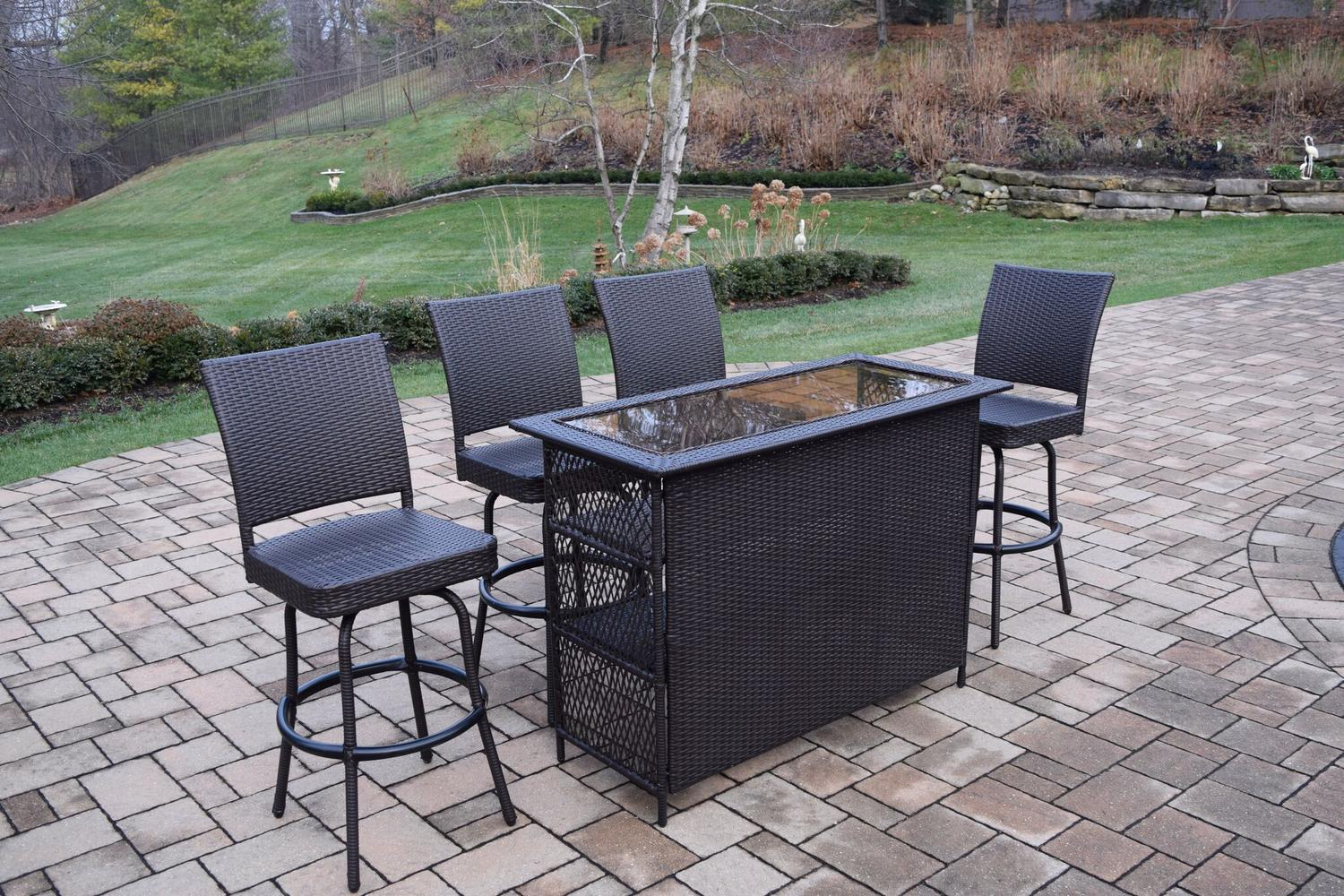 5 Piece Coffee Brown Elite All Weather Resin Wicker Outdoor Patio Bar Set