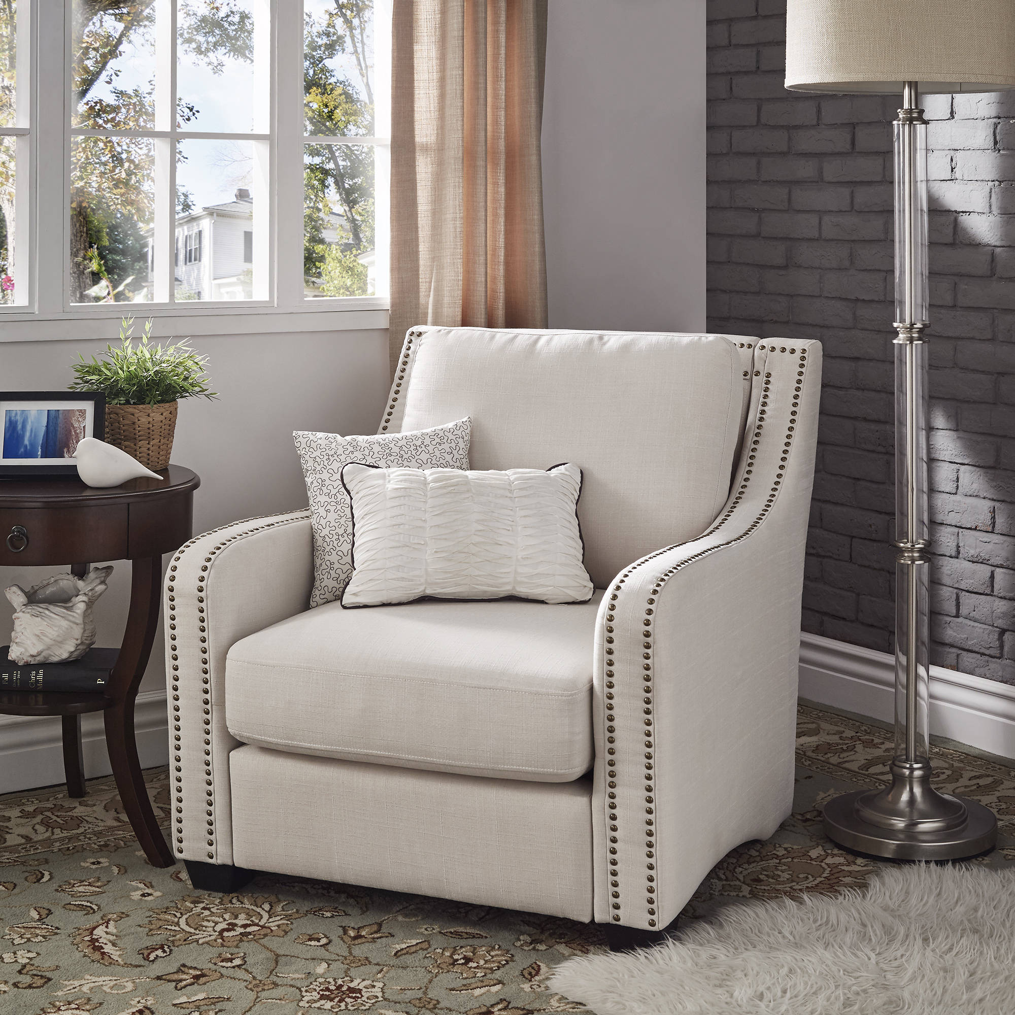 Weston Home Parker Nailhead Chair, White Linen