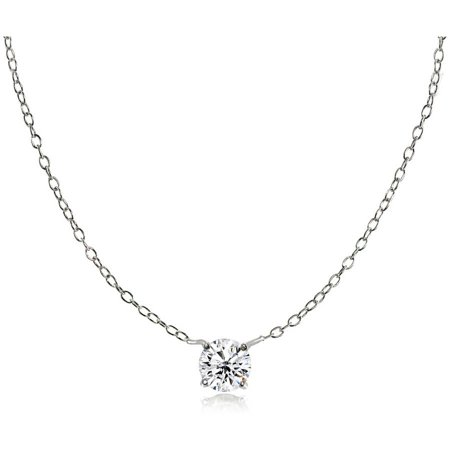 Round CZ Sterling Silver Small Dainty Choker Necklace](Cheap Necklaces)