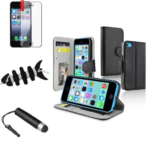 Insten Black Stand Wallet Card Leather Case Stylus Clear Protector Wrap For iPhone 5C
