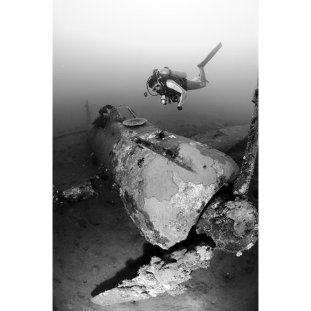 Diver explores the wreck of a Mitsubishi Zero fighter plane Kimbe Bay Papua New Guinea Poster (Zero Fighter Plane)