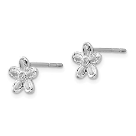 SS White Ice .02ct. Matte Finish Diamond Flower Earrings QW176 - image 2 de 2