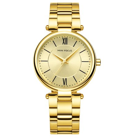 Womens Quartz Watch Gold Dial Solid Steel Belt Time Scale Rome Simple for Friends Lovers Best Holiday Gift