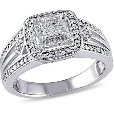 Miabella 1/5 Carat T.W. Princess and Round-Cut Diamond Sterling Silver Halo Engagement Ring