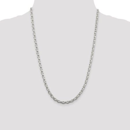 925 Sterling Silver 4.4mm Oval Rolo Chain Necklace Pendant Charm Fancy Fine Jewelry Gifts For Women For Her - image 3 of 9