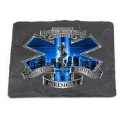 Erazor Bits FF2103-SC100 Paramedic Natural Stone Coasters - Blue Skies Never Forget - Ivory