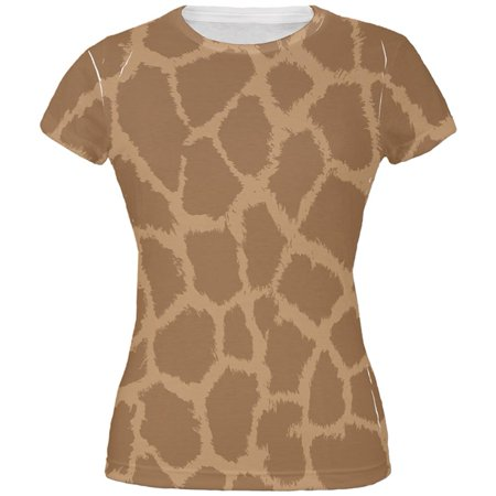 Halloween Giraffe Pattern Costume All Over Juniors T Shirt