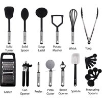 Cooking Utensils Set-Kitchen Accessories, Nylon Cookware Set-Kitchen Gadget Tools of Black 23 Pieces Lux Decor Collection