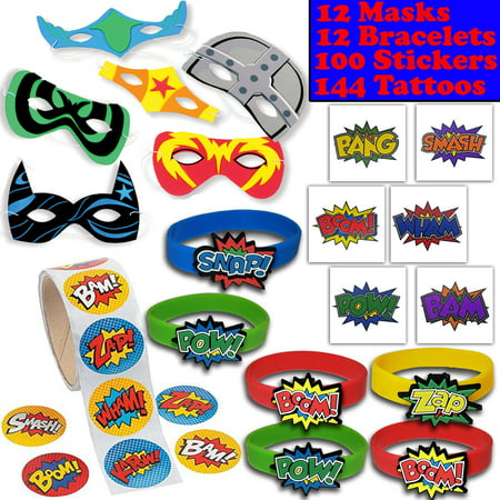 Superhero Party Favors - 12 masks, 12 Bracelets, 100 Stickers, 144 Tattoos - Perfect for Pinata Fillers, Loot bags, Handouts, Prizes and More](Halloween Loot Bag Fillers)