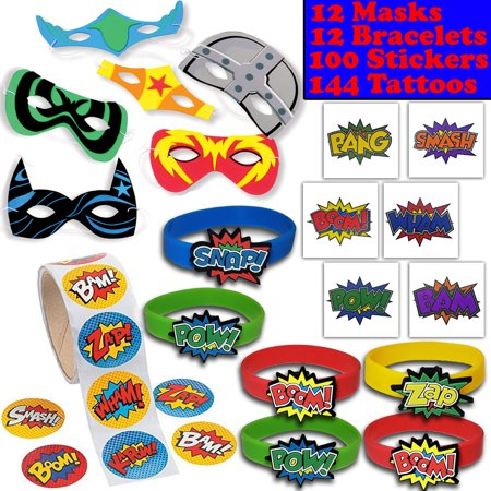 Mask Party Favors (Superhero Party Favors - 12 masks, 12 Bracelets, 100 Stickers, 144 Tattoos - Perfect for Pinata Fillers, Loot bags, Handouts, Prizes and)