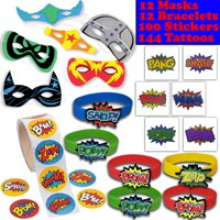 Superhero Party Favors - 12 masks, 12 Bracelets, 100 Stickers, 144 Tattoos - Perfect for Pinata Fillers, Loot bags, Handouts, Prizes and More